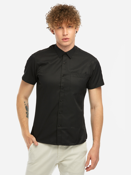 Yoins Black Tight Single Breasted Design Classic Collar Short Sleeves Men's Dress Shirt