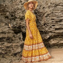 Ditsy Floral Print Grommet Lace-up Ruffle Hem Dress