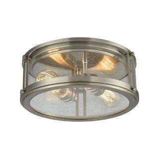 Lingfield Piece - Two Light Flush Mount  Polished Nickel Finish With Clear Glass (Brushed Nickel)