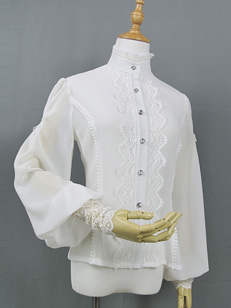 Milanoo Classic Lolita Shirt Lace Stand Collar Puff Sleeve White Chiffon Lolita Top