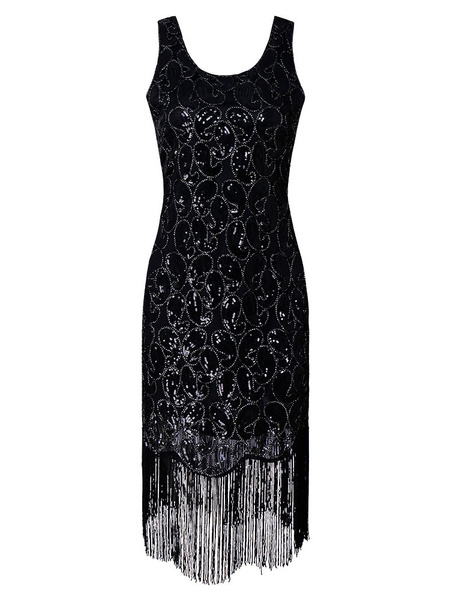 Milanoo 1920s Fashion Costume Flapper Dress Great Gatsby Vintage Black Sequined Tassels 20s PartyDress