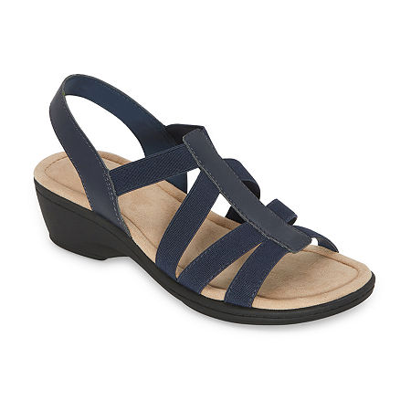 east 5th Womens Ichiro Wedge Sandals, 11 Medium, Blue