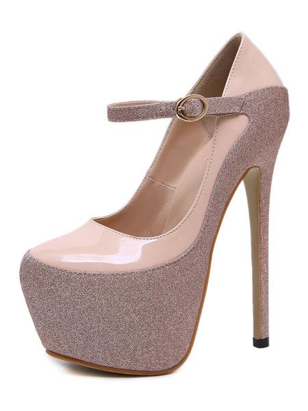 Milanoo Women Sexy Platform High Heels Glitter Round Toe Stiletto Heel Pumps