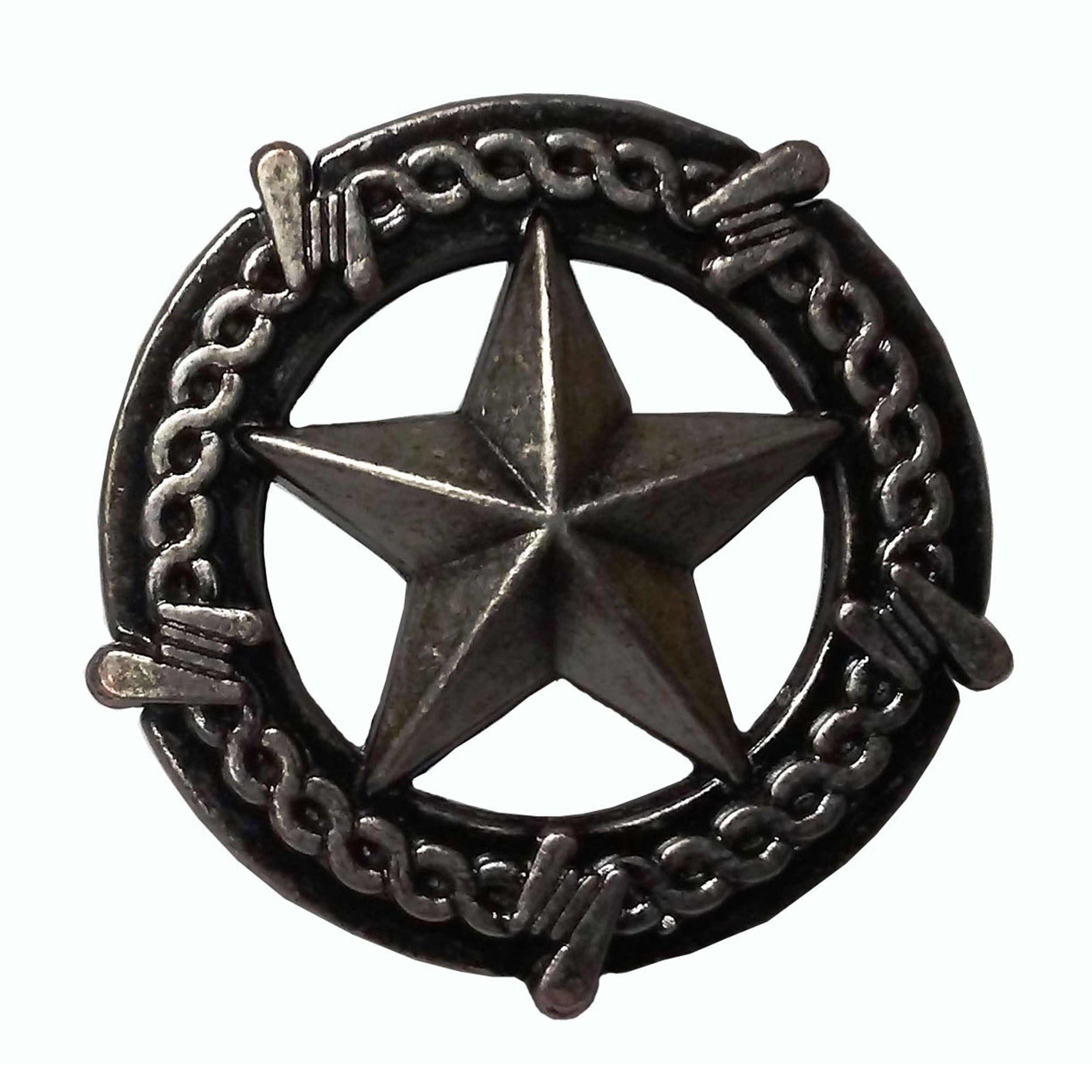 Star with Barbed Wire Knob, Pewter Oxide
