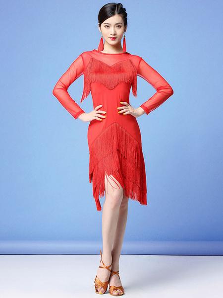 Milanoo Dance Costumes Latin Dresses Fringe Layered Sheer Dress Dancing Wears Outfits Halloween