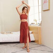 Tie Back Cami Top & High Split Tiered Skirt Set