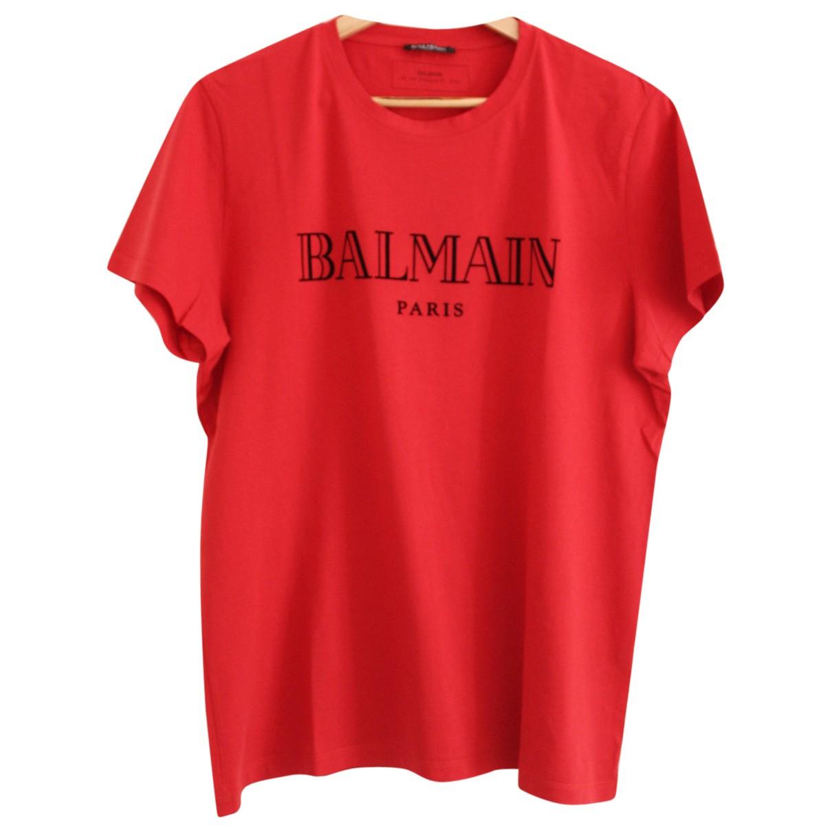Balmain - Tee shirts   pour homme en coton - rouge
