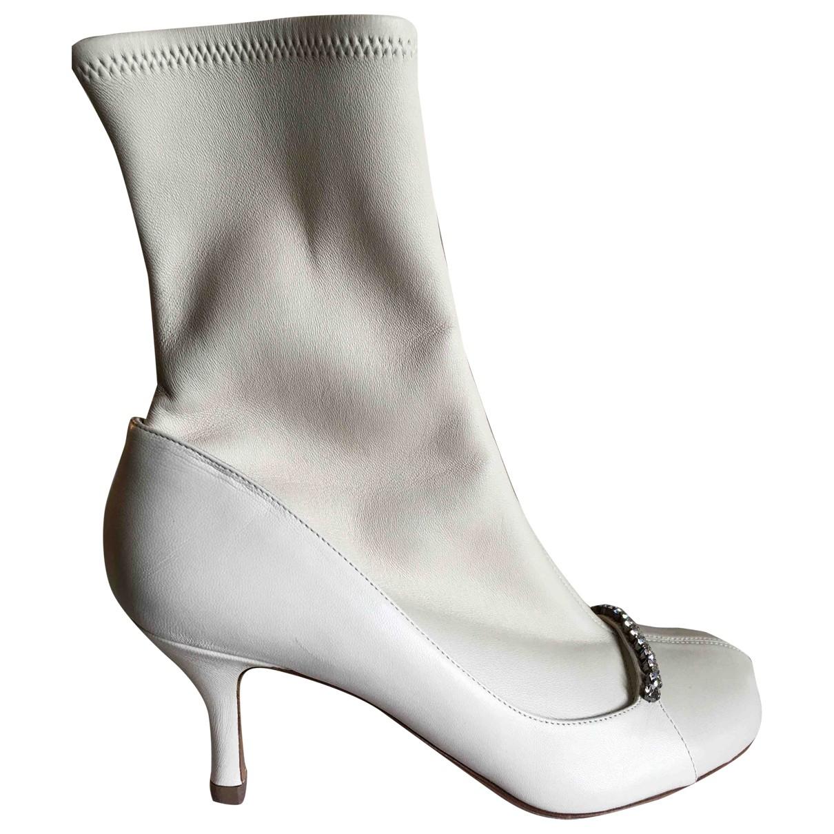 Valentino Garavani - Boots   pour femme en cuir - ecru
