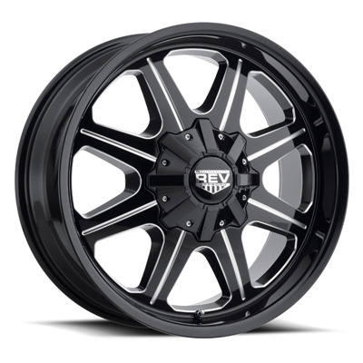 823 REV 20X9 8X165.10 -12MM -12MM Milled Black Gloss 51 Lbs Milled Aluminum Wheels 823 Offroad REV Series REV Wheels 823M-2908112
