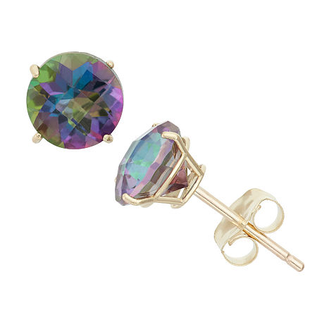 Genuine Mystic Fire Topaz 10K Gold 6mm Stud Earrings, One Size , No Color Family