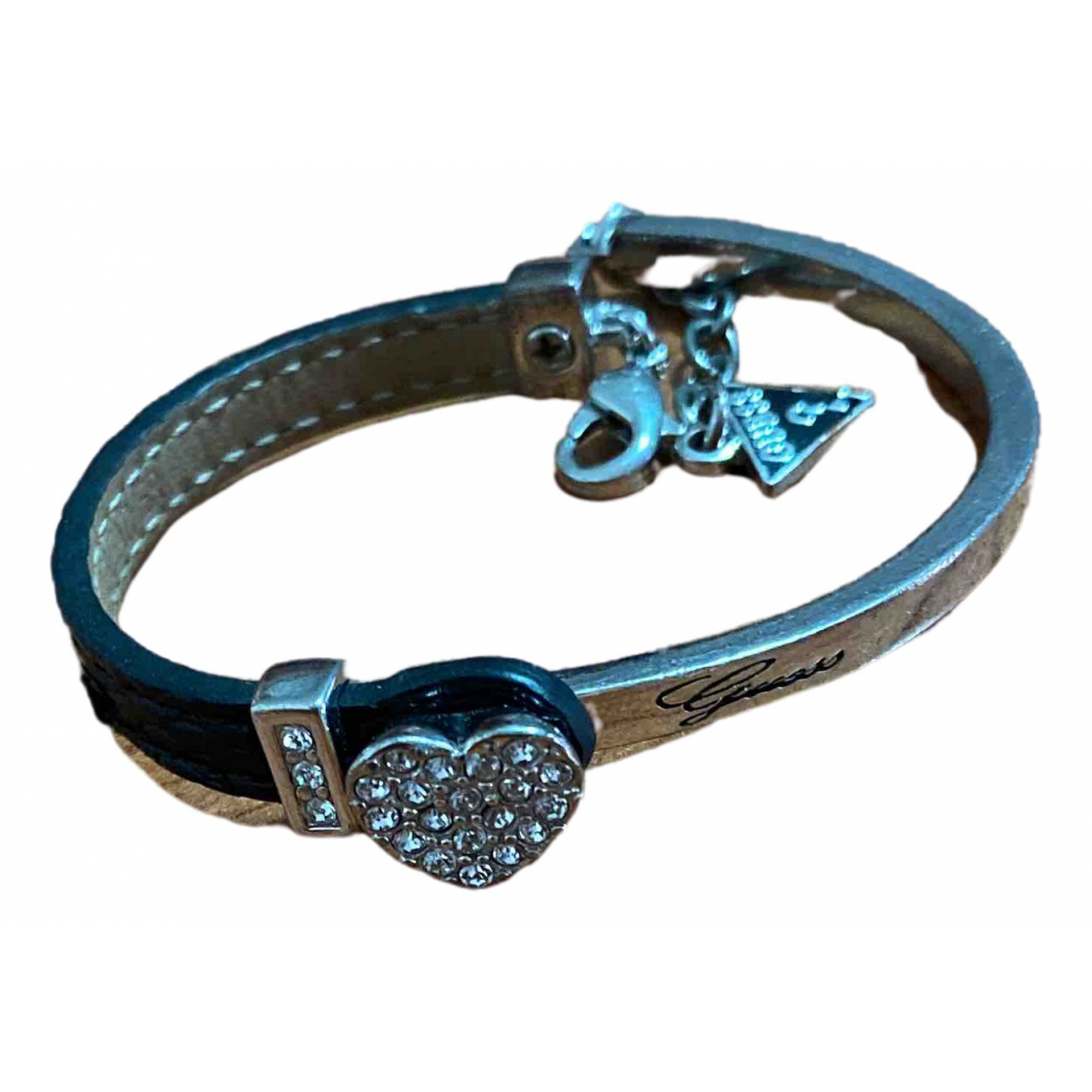 Guess \N Armband in  Schwarz Leder