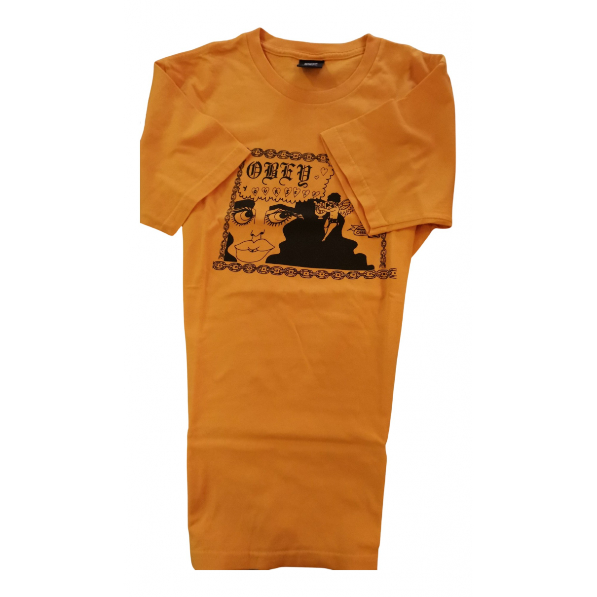 Obey N Yellow Cotton T-shirts for Men S International