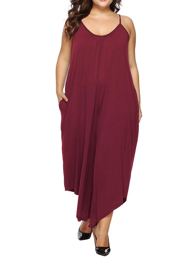 Ericdress PlusSize Asymmetrical Plain High Waist Loose Jumpsuit