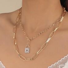 Collar colgante de cerradura con diamante de imitacion