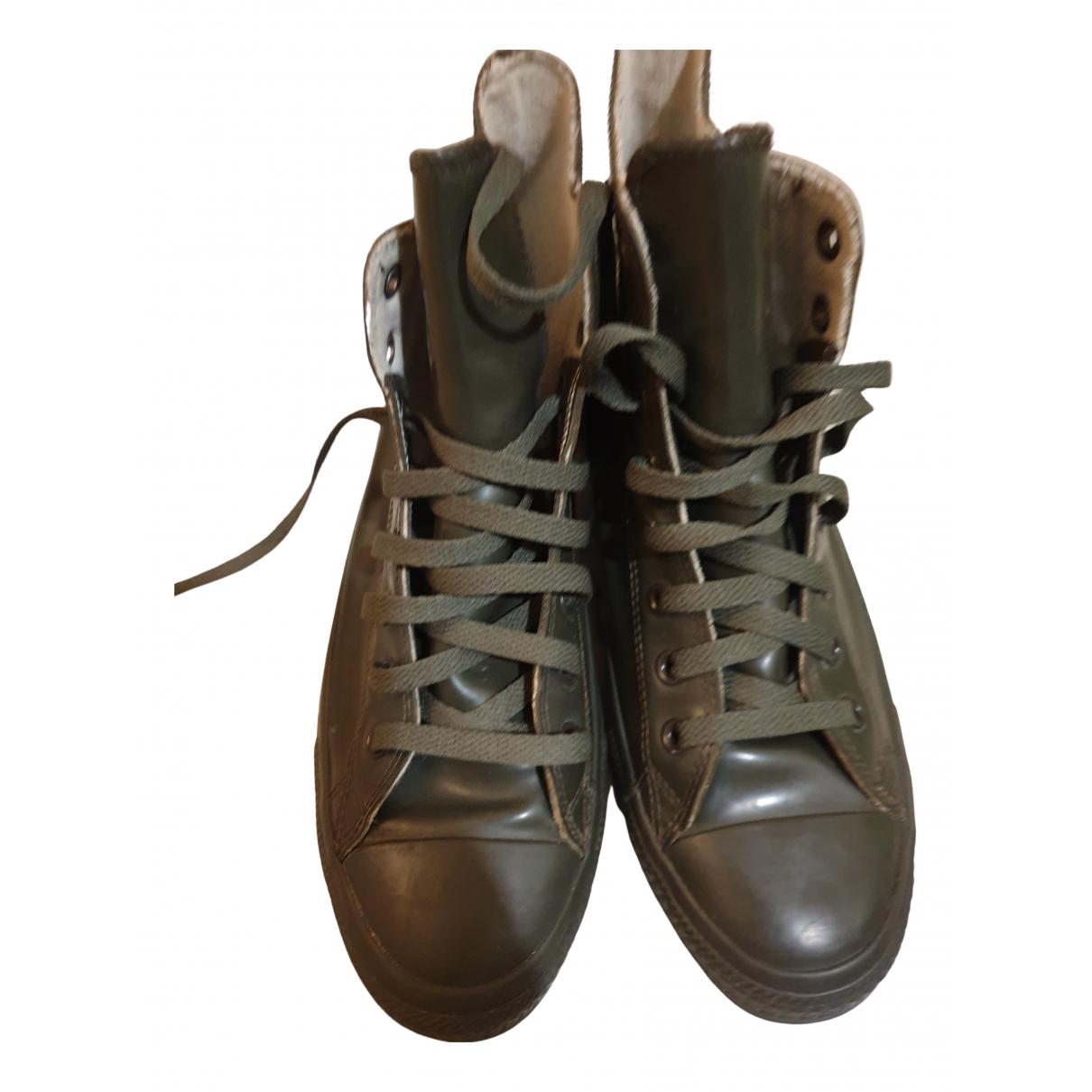 Converse - Baskets   pour homme en cuir verni - vert