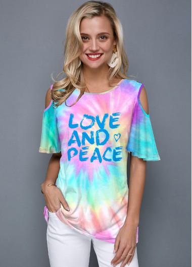 Letter Print Tie Dye Cold Shoulder T Shirt - XS