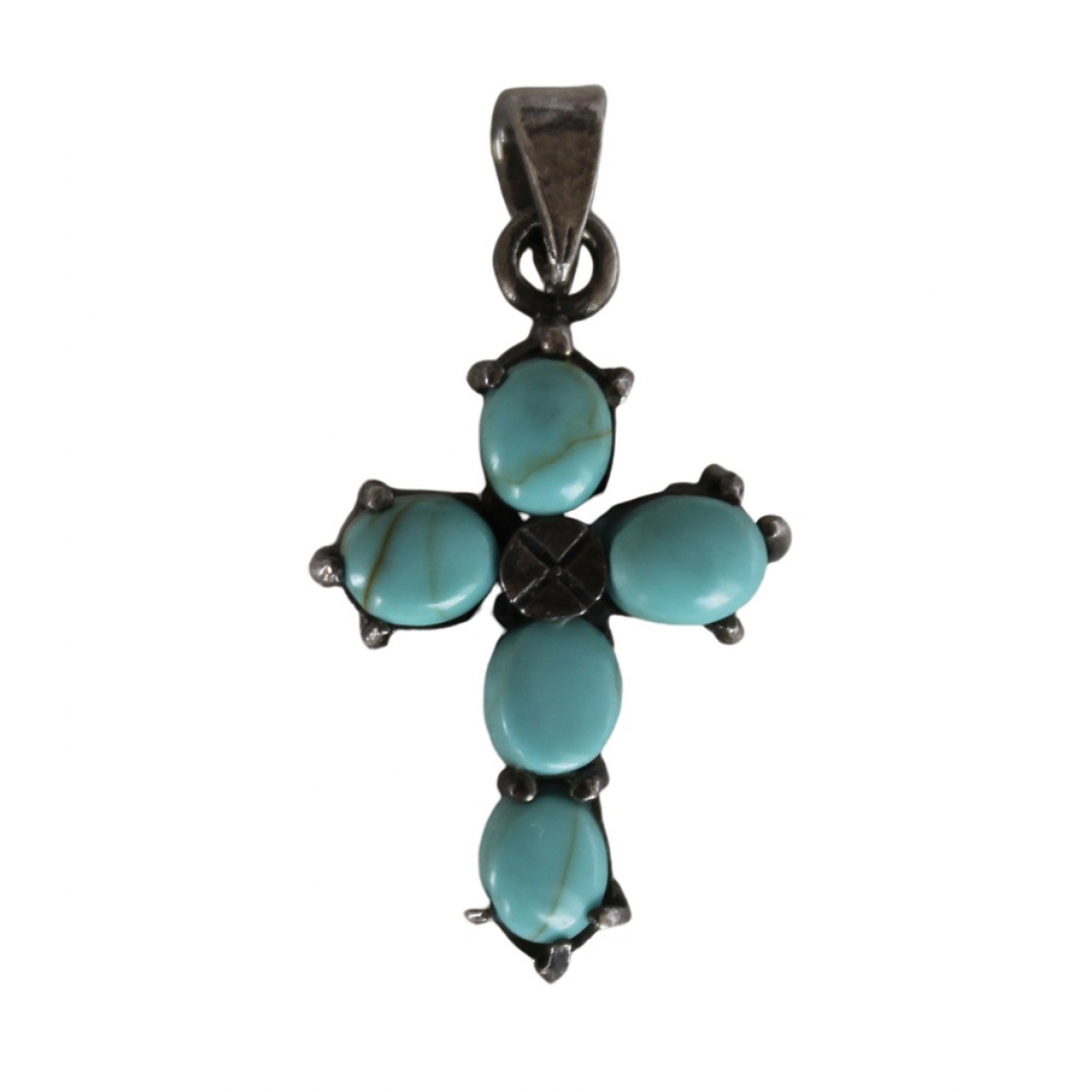 Non Signé / Unsigned Croix Turquoise Silver pendant for Women \N