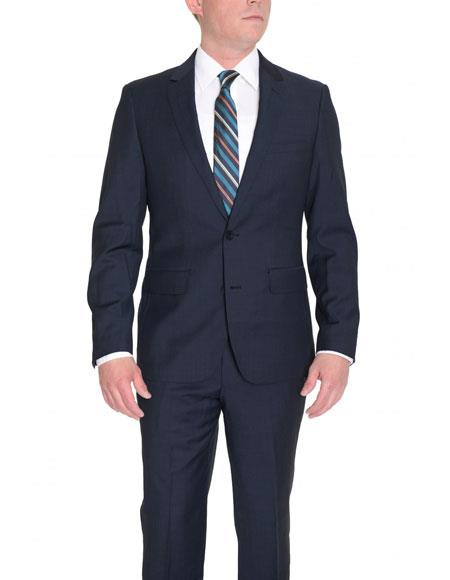 Mens Solid BlueSingle Breasted 2 Button Wool Dual Side Vents Suit