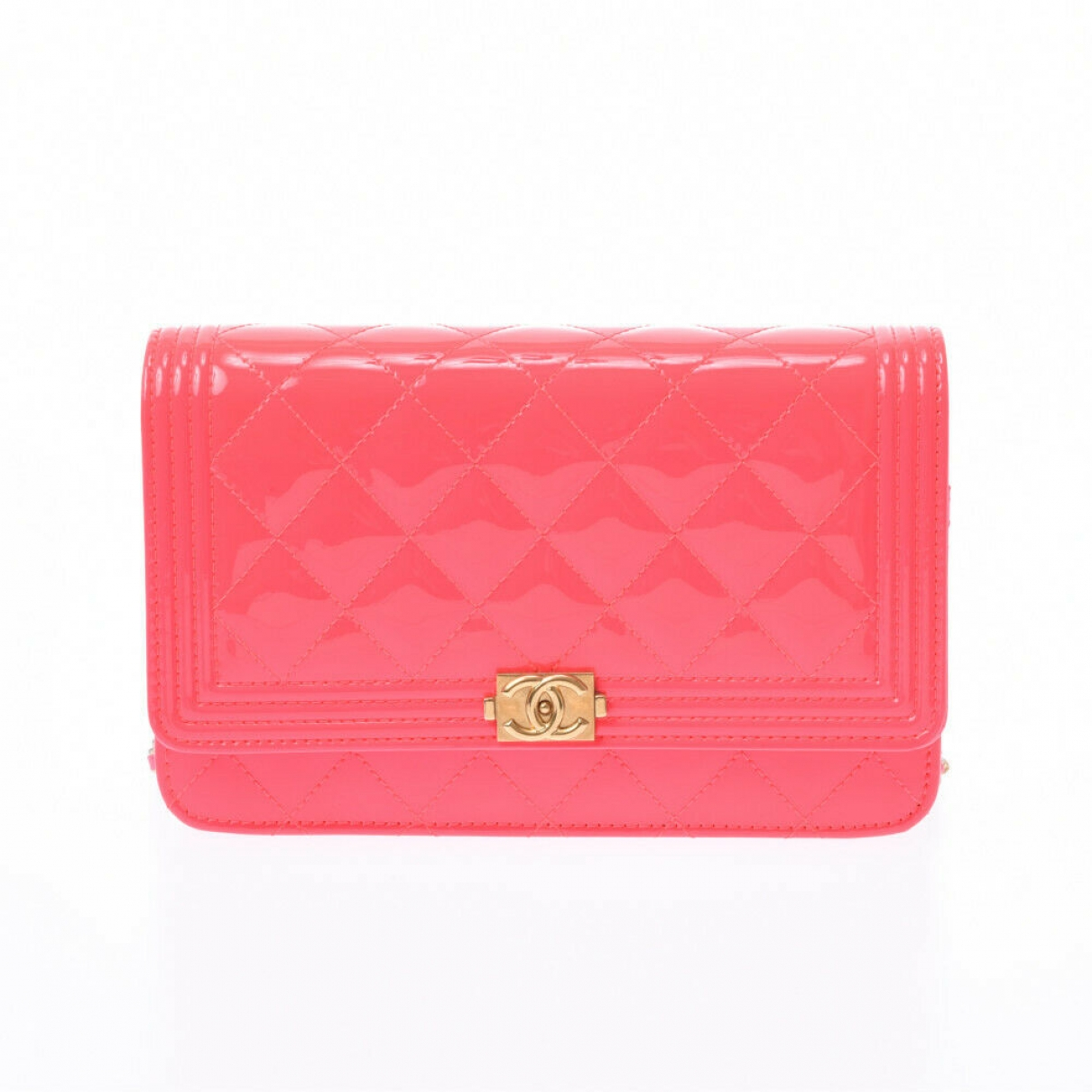 Chanel Boy Clutch in  Rosa Lackleder