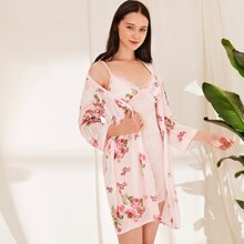 Floral Cami Nightdress & Belted Robe