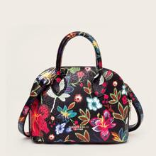 Floral Embroidery Dome Bag