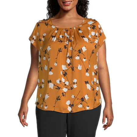 Liz Claiborne Button Shoulder Tee - Plus, 3x , Yellow