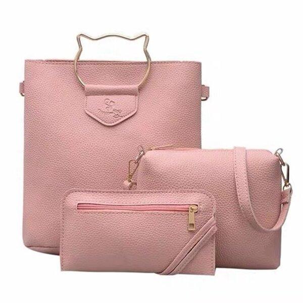 Women Faux Leather Cat Handle Cute Three-piece Set Handbag Shoulder Bag Clutch Bag Card Holder