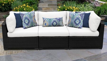 Belle Collection BELLE-03b-WHITE 3-PC Patio Sofa with 2 Corner Chairs and 1 Armless Chair - Wheat and Sail White
