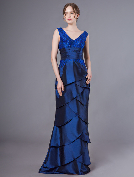 Milanoo Mother Of The Bride Dresses V Neck Taffeta Royal Blue Tiered Formal Gowns