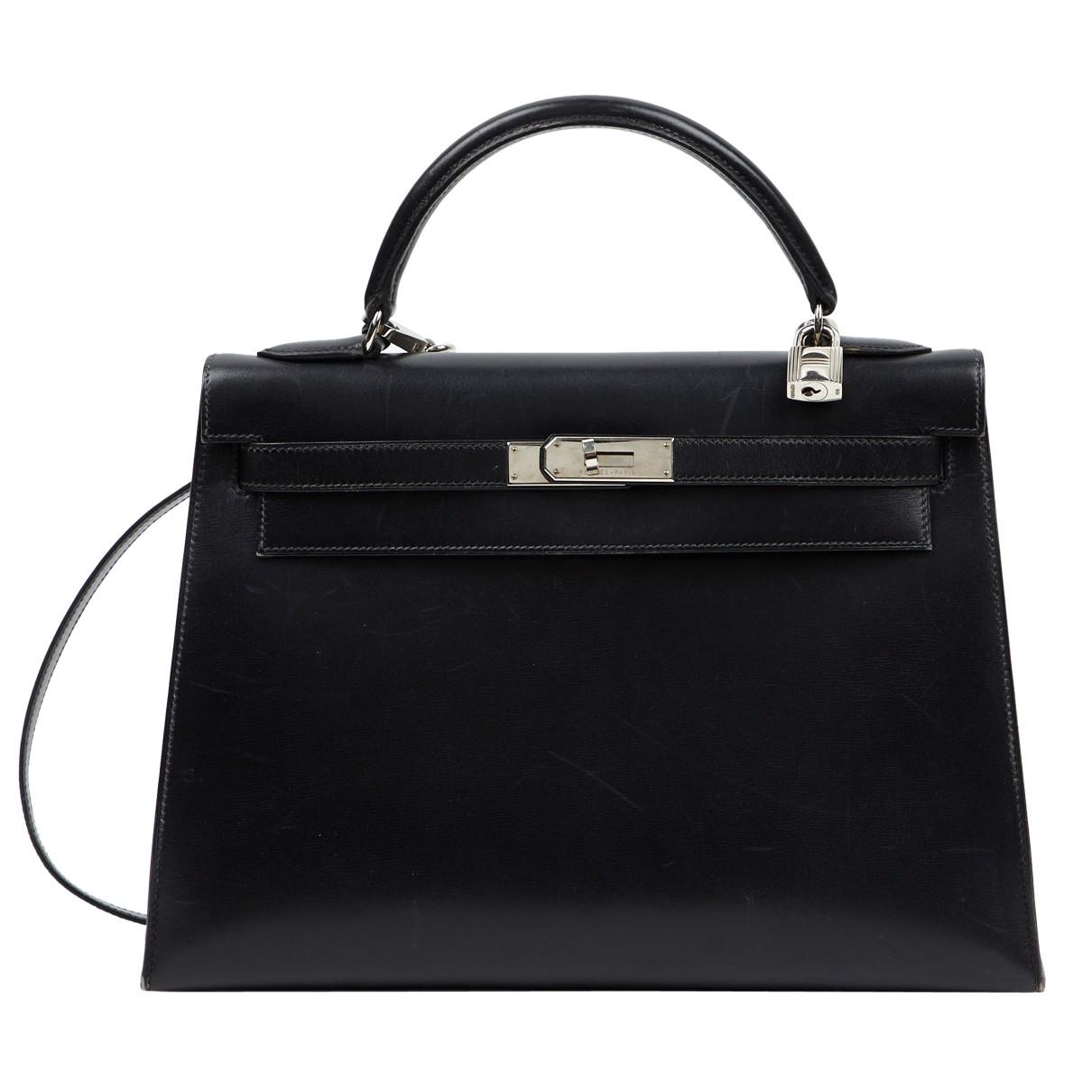 Hermes Kelly 32 Handtasche in  Schwarz Leder