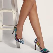 Ultra High Heeled Snakeskin Court Pumps