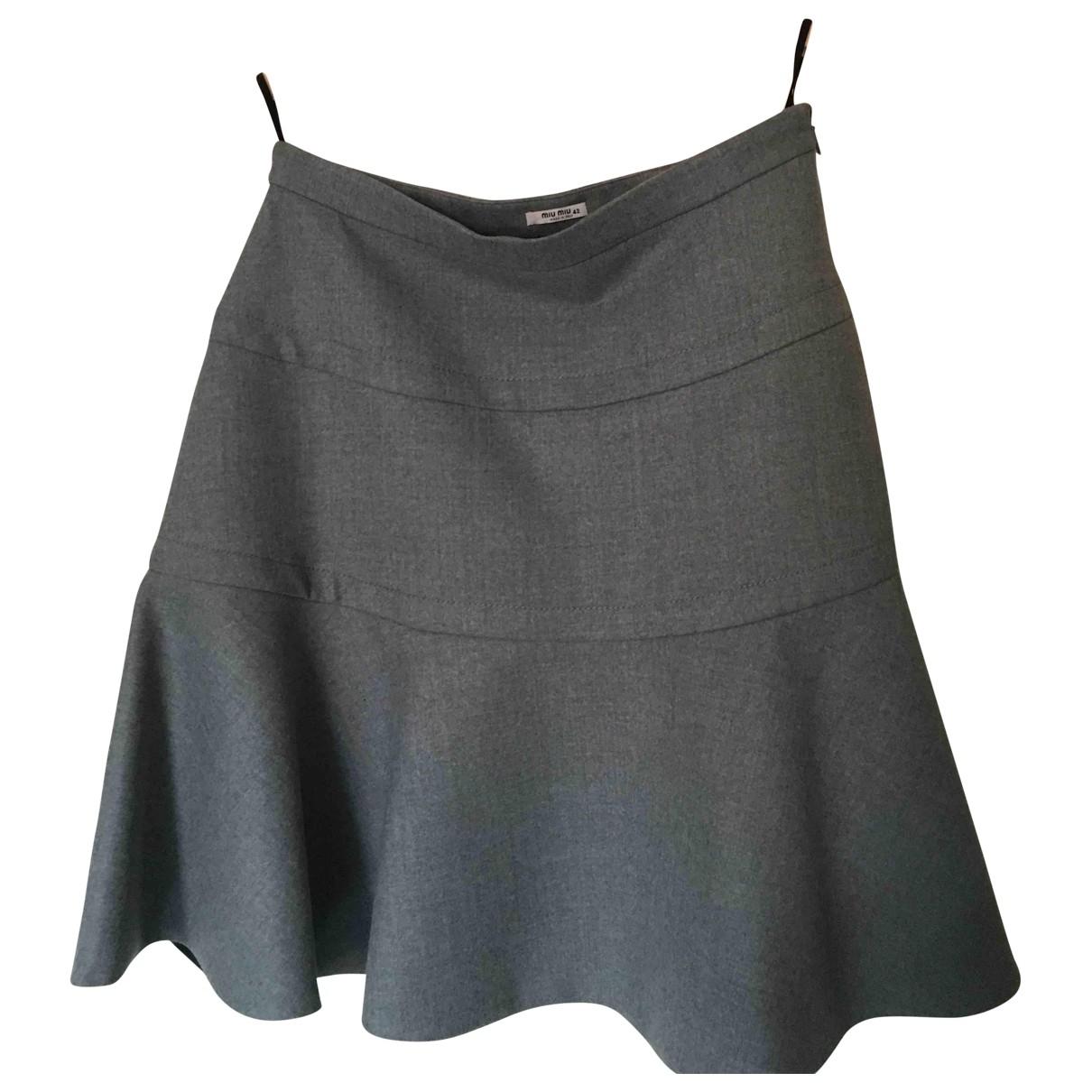 Miu Miu - Jupe   pour femme en laine - gris