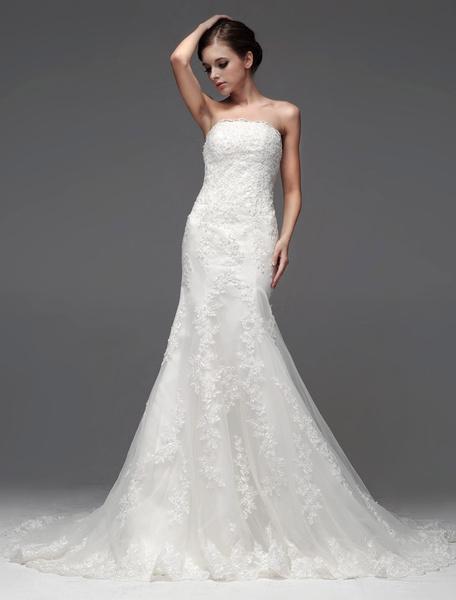 Milanoo Vestido de novia de tul de color marfil sin tirantes de cola larga de estilo atractivo