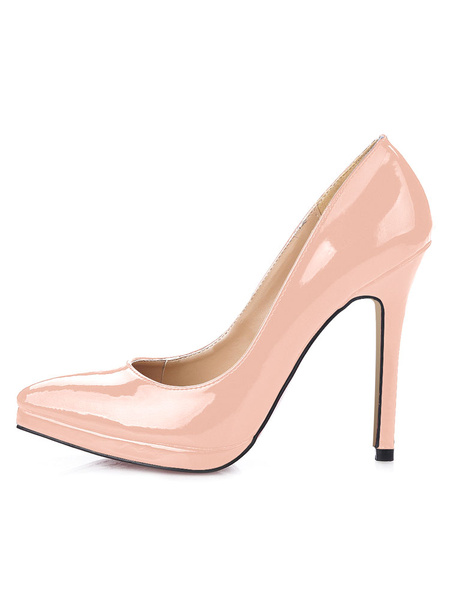 Milanoo Women White High Heels Pointed Toe comfortable Pumps heeled Shoes
