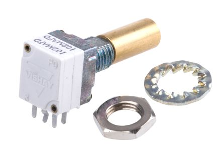 Vishay 2 Gang Rotary Conductive Plastic Potentiometer with an 6 mm Dia. Shaft - 1kΩ, ±20%, 0.05W Power Rating, Linear,