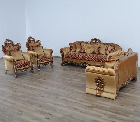 Emperador Collection III Luxury Set 3 Pieces with 1 Sofa + 1 Loveseat + 1 Chair  in Red Gold