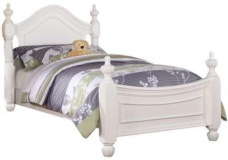 Classique Collection 30120F Full Size Poster Bed with Acorn Finials  Pumpkin Bun Feet  Raised Bead Detail and Pine Wood Construction in White