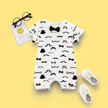 Baby Boy Allover Beard Print Romper