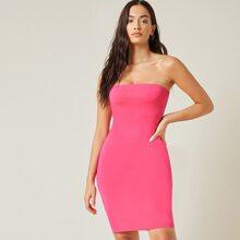 Einfarbiges figurbetontes Tube Kleid