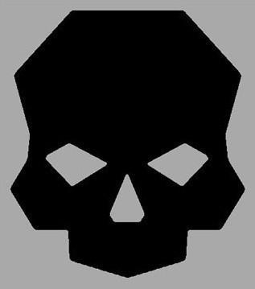 Skull Logo Sticker Black 2x26 Inch Ballistic Fabrication SWA-106-4