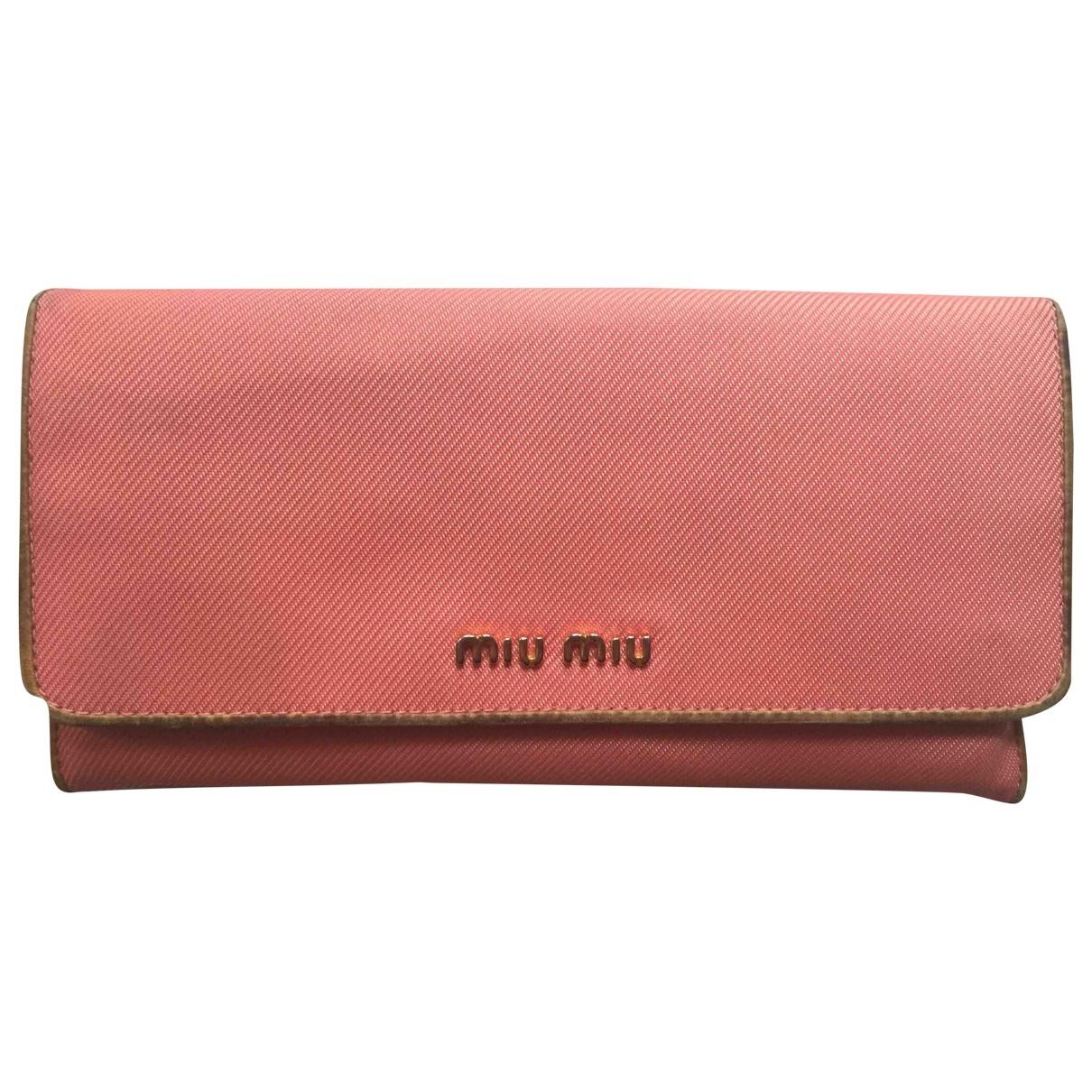 Miu Miu - Portefeuille   pour femme en toile - orange
