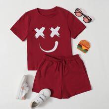 T-Shirt mit Karikatur Grafik & Shorts mit elastischer Taille Set