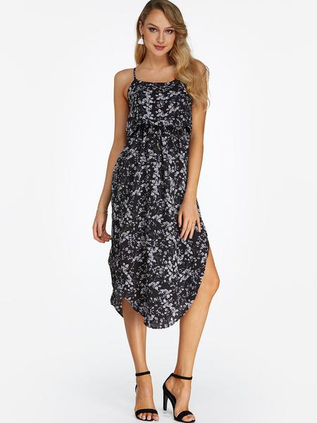 Yoins Black Random Calico  Sleeveless Blackless Stretch Waist Slit Hem Dress