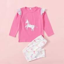 Toddler Girls Cartoon Unicorn Print Ruffle Tee With Pants