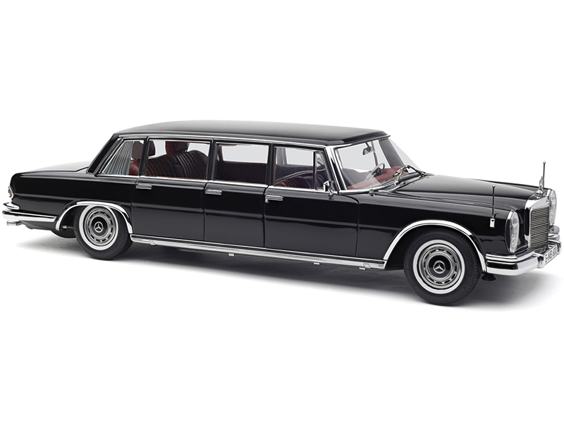 1963-1981 Mercedes Benz 600 Pullman (W100) Limousine Black with Red Interior 1/18 Diecast Model Car by CMC