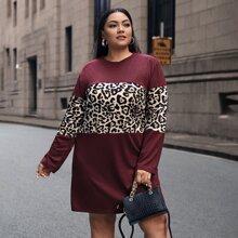 Plus Contrast Leopard Tee Dress