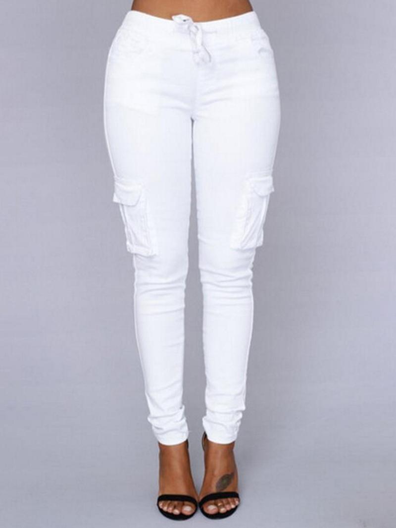 Ericdress Patchwork Skinny Plain Full Length Casual Pants