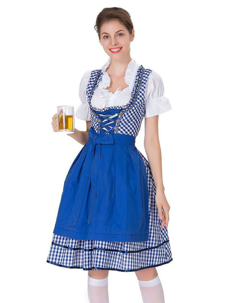Milanoo Beer Girl Costume Gingham Plaid Lace Up Bow Cotton Oktoberfest Costumes Halloween