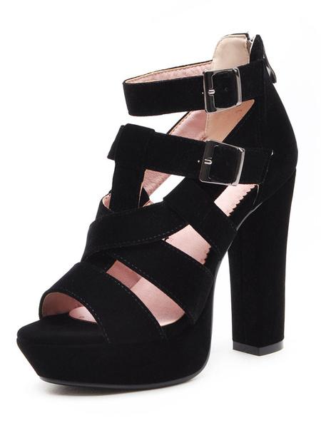 Milanoo Platform High Heel Sandals Womens Peep Toe Criss Cross Double Ankle Straps Chunky Heel Sandals
