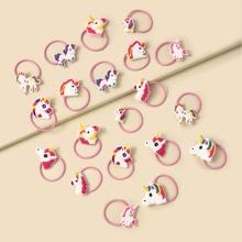 20 piezas goma de pelo de niñitas con diseño de unicornio